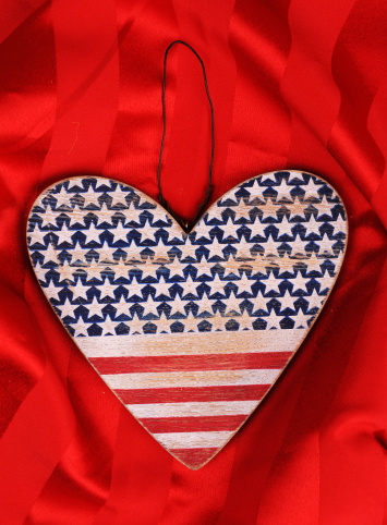 American hearts on red background